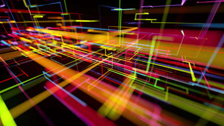 3d rendering like abstract hologram. Multi color neon glow lines form digital 3d space. Stockfoto - 154581539