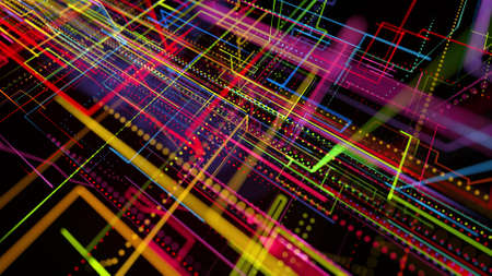 3d rendering sci-fi bg like abstract hologram. Multi color neon glow lines form digital 3d space. Connection concept, visualization of multiple calculations of various branches neural network or AI Stockfoto - 154581546