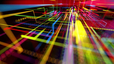 3d rendering sci-fi bg like abstract hologram. Multi color neon glow lines form digital 3d space. Connection concept, visualization of multiple calculations of various branches neural network or AI Stockfoto