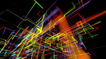 3d rendering sci-fi bg like abstract hologram. Multi color neon glow lines form digital 3d space. Connection concept, visualization of multiple calculations of various branches neural network or AI