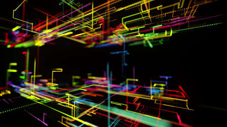 3d rendering sci-fi bg like abstract hologram. Multi color neon glow lines form digital 3d space. Connection concept, visualization of multiple calculations of various branches neural network or AI Stockfoto - 154581549