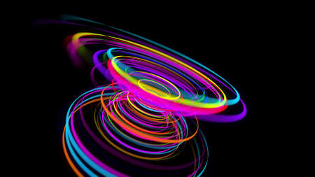 3d rendering stylish creative abstract background. colored lines swirling in spiral. Motion design bg of particles shaping lines, helix and abstract structures. 3d render