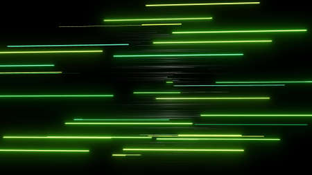 3d render. abstract simple geometric background with green rectangles like elongated light bulbs flashing neon lights fly in air. Creative simple motion design bg