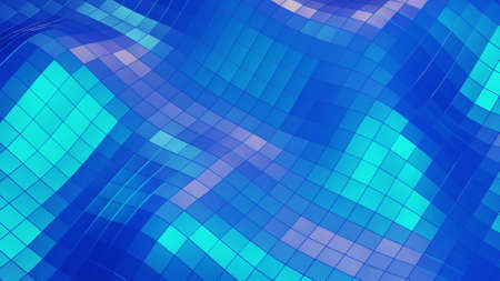 3d render. Stylish creative abstract low poly background. Abstract waves on glossy surface. Simple minimalistic geometric bg. Blue color
