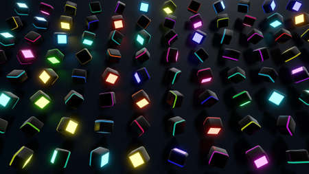 3d render. Dark background with abstract blocks on plane like devices with screen lighting with multicolor neon light.