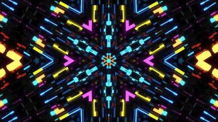3d render. Dark neon kaleidoscope. 4k dark background with abstract symmetrical pattern of geometric 3d neon light. Science fiction cyberpunk bg
