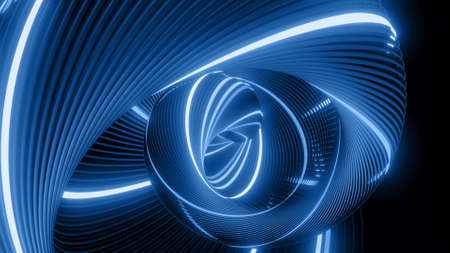 3d render. Abstract geometric bg with rings form complex twisted spiral and light effects. Rings flash neon blue lights. Neon ring bulbs for show or events, festivals Stockfoto