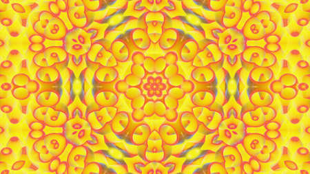 3d render. Abstract background simmetrical 3d liquid pattern with bright gradient color transition. Liquid kaleidoscope viscous liquid waves and glitter on surface. Wavy pattern. Yellow red colors