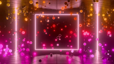 neon glow spheres fly indoors with smooth light gradient. Yellow purple red colors. Simple abstract background with luminous spheres. 3d render