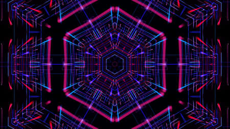 3d render. Abstract laser show. Abstract bg with pattern of glow blue red lines. Pattern like flower, star or mandala of glow curved lines. Kaleidoscopic simmetrical structure with lines Stockfoto