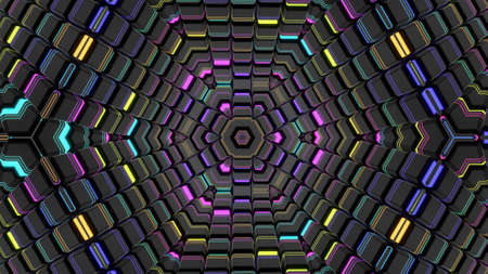 3d render. Abstract background with symmetrical structures like kaleidoscope with lighting bulbs, multicolor neon lights. Geometric dark background with 3d objects