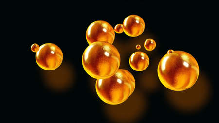 3d rendering. Amasing abstract background of metaballs or glisten bubbles as if glass drops or spheres filled with golden sparkles merge together and scatter around. Creative background