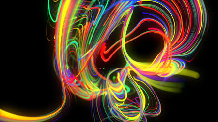 Abstract background glow lines or light streaks. Running lights particles form in 3d space glowing beautiful curved lines like ball of wires burning with neon light. Beautiful creative bg. 3d render