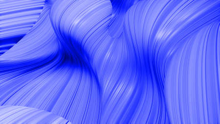 3d render. Shining blue surface, bright colorful background. Beautiful abstract background of waves on surface, color gradients, extruded lines as striped fabric surface with folds or waves on liquid Stockfoto