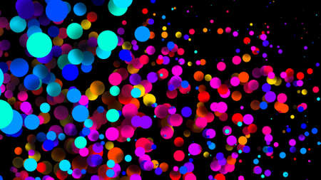 Abstract simple background with beautiful multi-colored circles or balls in flat style like paint bubbles in water. 3d render of particles, colored paper applique. Creative design background 33