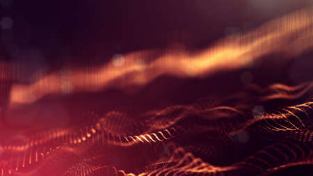 3d rendering background of microworld or sci-fi theme with glowing particles form curved lines, 3d surfaces, grid structures with depth of field, bokeh. Golden red wave forms Stockfoto