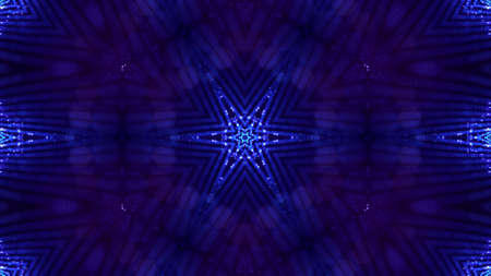 3d render. Blue motion design bg with symmetrical star pattern. Abstract sci-fi background with glow particles form curved lines, surfaces, hologram or virtual digital space. Floral structure Stockfoto