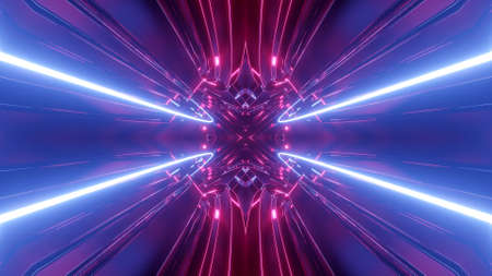 3d render. Sci-fi tunnel with neon lights. Abstract high-tech tunnel as background in the style of cyberpunk or high-tech future. Symmetrical structure of purple light streaks. Stockfoto