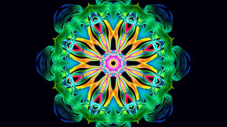 Pattern as flower or star. Abstract bg with grows rainbow colors lines pattern like symmetrical radial ornament on plane like mandala. Kaleidoscopic structure with curved lines. 3d render