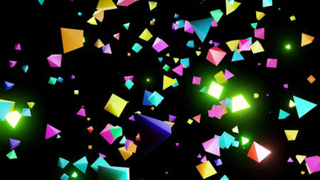 3d render. Abstract festive background with cloud of pyramids flashing neon light randomly. Multi-colored pyramids in the air.