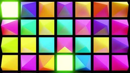 3d render. Abstract festive background with multi-colored pyramids on a plane flashing neon light randomly.