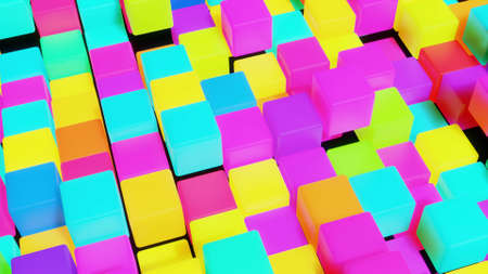 3d abstract simple geometric background with multicolor cubes. Cubes form a plane. Creative simple motion design background with 3d objects. 3d render