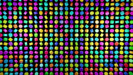 3d render. Abstract festive bg with rows of cylinders on plane flashing neon multicolored light randomly. Neon bulbs for show or events, exhibitions, festivals