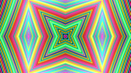 Geometric abstract background. Abstract symmetrical composition, multicolored 3d elements. 3d render abstract kaleidoscope with 3d simple objects. Motion design style Stockfoto