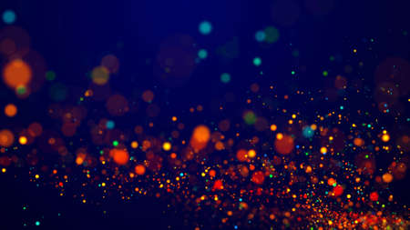 Magical multicolored sparkles of light form abstract simple spiral structure. Multi-colored glow particles float in viscous liquid as fantastic 3d background. 3d render