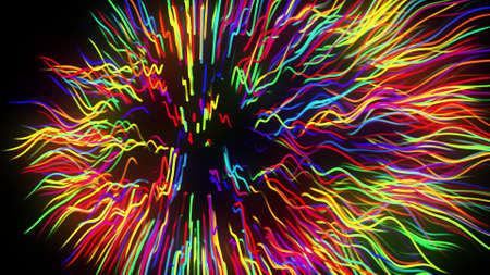 3d render. Motion design background. Festive bg with multicolored particles. Abstract 3d bg with glow particles lined up in a row along curved waving lines in 3d space.