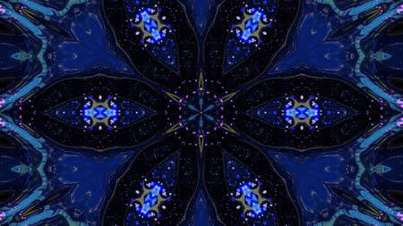Star symmetry. Kaleidoscope effect from wavy shiny liquid surface with distorted circles like drops of paint in oil. Creative background with multicolor gradient. 3d render Stockfoto