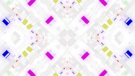 3d render. Abstract white sci-fi bg with symmetrical geometric pattern like mandala or kaleidoscope. Matt white glass with multicolor inserts. Motion design light background Stockfoto