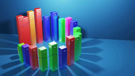 3d render. Beautiful 3d background for analytical programs with abstract infographics, statistical data. Multicolor bars, counters and graph. 3d columns as financial bg