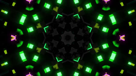 3d render. Dark background with abstract symmetrical pattern of geometric 3d stuff and neon light. Science fiction cyberpunk bg with mechanism and neon light