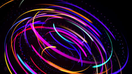 3d render. Light flow form ring structure. Light effect as abstract background with light trails, stream of multicolor neon lines in space form rings. Modern trendy motion design background. Stockfoto