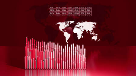 3d render. Abstract beautiful columns form graph and with the world map form an information panel as analytical theme. Global data, abstract statistics around the world as information bg. Red color