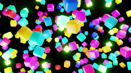 3d abstract simple geometric background with multicolor cubes flash neon light. Cubes fly in the air. Creative simple motion design background with 3d objects. 3d render