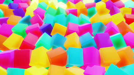 3d abstract simple geometric background with multicolor cubes. Cubes flash with neon light on plane. Creative simple motion design background with 3d objects. 3d render