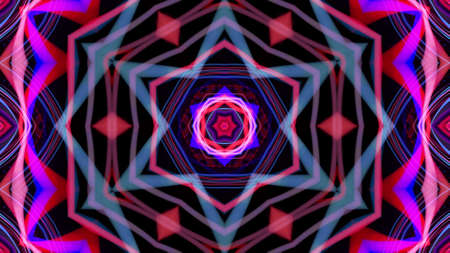 3d render. Abstract bg with pattern of glow blue purple lines. Pattern like flower, star or mandala of glow curved lines. Kaleidoscopic simmetrical structure. Abstract laser show with lines