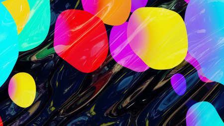 abstract background of shiny glossy surface like wavy transparent liquid with rainbow color circles like drops of paint in oil. Beautiful creative background with color gradient. 3d render Stockfoto