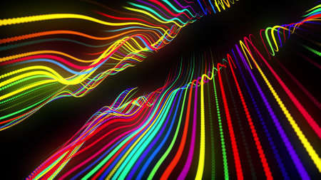 3d render. Motion design background. Festive bg with multicolored particles. Abstract 3d bg with glow particles lined up in a row along curved waving lines in 3d space