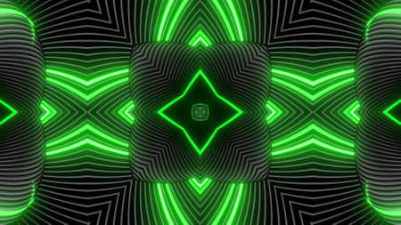 Geometric abstract background. Abstract symmetrical composition, green gray 3d elements. 3d render abstract kaleidoscope with 3d simple objects. Motion design style
