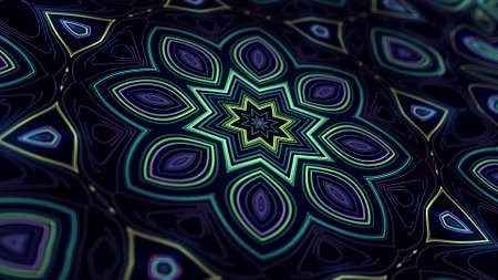 Kaleidoscopic structure with neon flash lights. Abstract bg with flashing lines. Pattern like symmetrical radial ornament on plane like light bulbs or garland of lines. 3d render