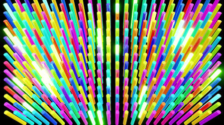 3d render. Abstract festive bg with rows of cylinders on plane flashing neon multicolored light randomly. Neon bulbs for show or events, exhibitions, festivals Stockfoto