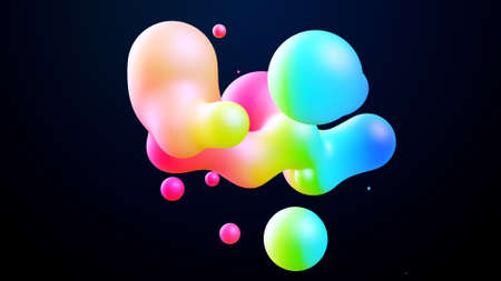 3d render. Spheres or balls merge like liquid wax drops or metaballs in-air. Liquid gradient of rainbow colors on beautiful drops with multi-colored glow, scattering light inside.