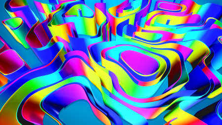Abstract bg with multicolor lines or ribbons forming curl noise on blue plane. Concept of abstract computing neural network or ai. Curved ribbons on plane. 3d render