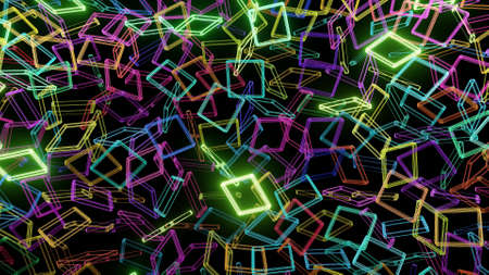3d render. Simple geometric background with colorful plates on plane flashing like neon lights. Creative colorful background.