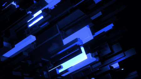 3d render. Dark science fiction blue background. Abstract dark bg neon cubes light bulbs. Different sizes cubes network lighting blue neon light. Blockchain technology visualization Stockfoto