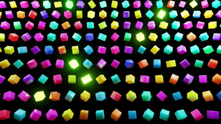 3d abstract simple geometric background with multicolor cubes flash neon light. Creative simple motion design background with 3d objects. 3d render