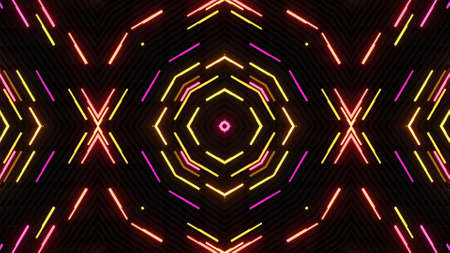 Geometric abstract background. Abstract symmetrical composition, red orange 3d elements. 3d render abstract kaleidoscope with 3d simple objects. Motion design style
